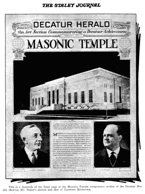 The Decatur Masonic Temple; inaugurated in February 1929 Photo from Staley Journal March,1929