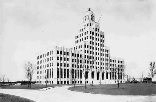 "The Staley Office Building: Inaugurated in April, 1930 Also known as ""The Castle in the Cornfields"" Photo Courtesy of the Hieronymus Mueller Museum"