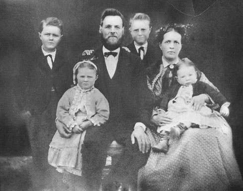 William Staley Family, c. 1877 -- A.E. Staley (Gene) standing on far left Photo courtesy of the Staley Family